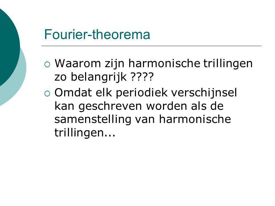 Fourier-theorema  Waarom zijn harmonische trillingen zo belangrijk ????  Omdat elk periodiek verschijnsel kan geschreven worden als de samenstelling
