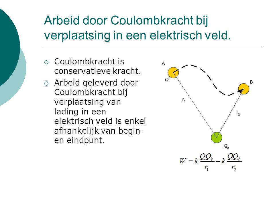 Arbeid door Coulombkracht bij verplaatsing in een elektrisch veld.  Coulombkracht is conservatieve kracht.  Arbeid geleverd door Coulombkracht bij v