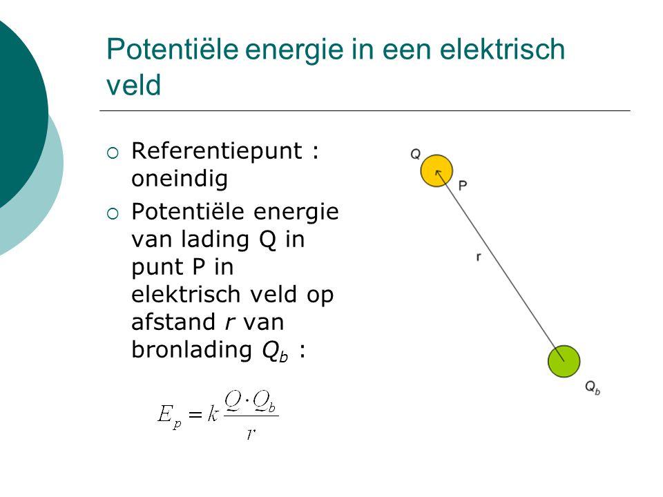 Potentiële energie in een elektrisch veld  Referentiepunt : oneindig  Potentiële energie van lading Q in punt P in elektrisch veld op afstand r van