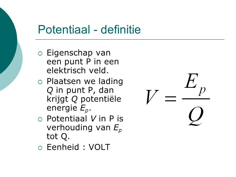 Potentiaal - definitie  Eigenschap van een punt P in een elektrisch veld.  Plaatsen we lading Q in punt P, dan krijgt Q potentiële energie E p.  Po