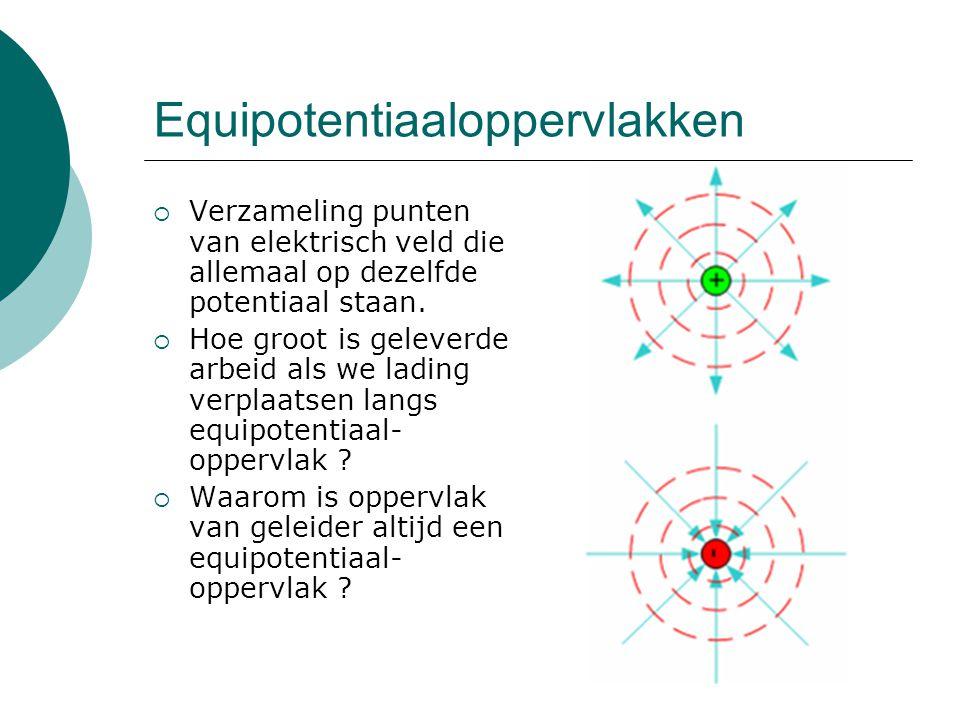 Equipotentiaaloppervlakken  Verzameling punten van elektrisch veld die allemaal op dezelfde potentiaal staan.  Hoe groot is geleverde arbeid als we