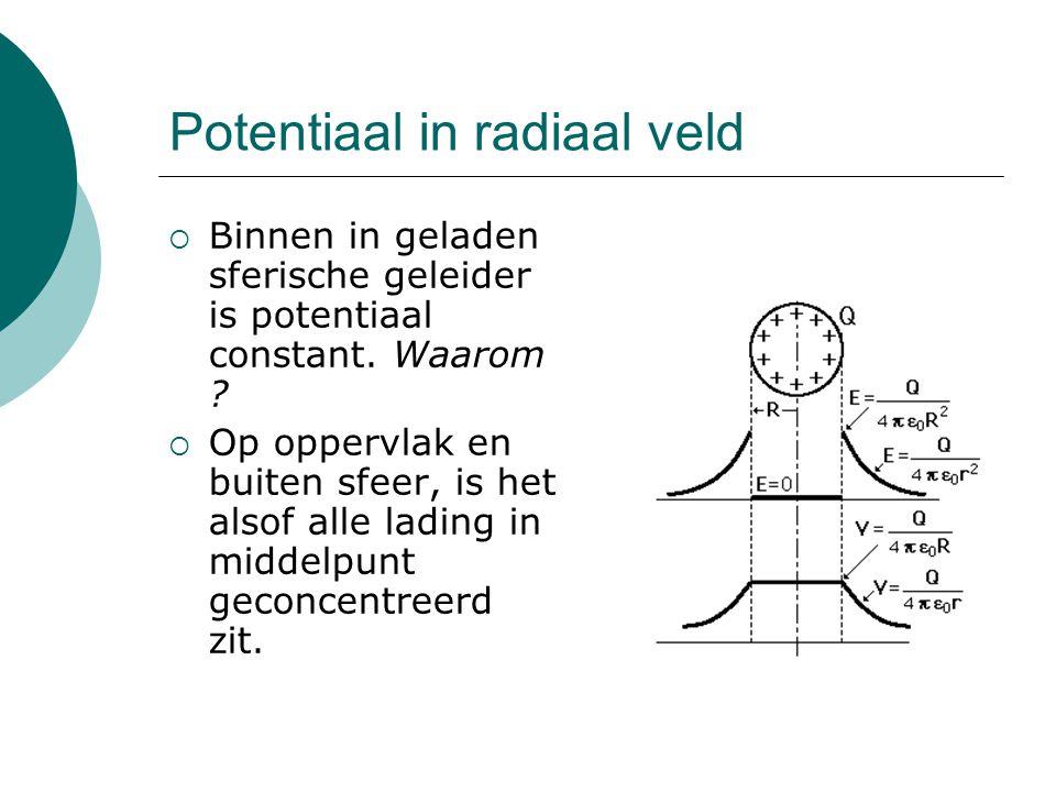 Potentiaal in radiaal veld  Binnen in geladen sferische geleider is potentiaal constant. Waarom ?  Op oppervlak en buiten sfeer, is het alsof alle l