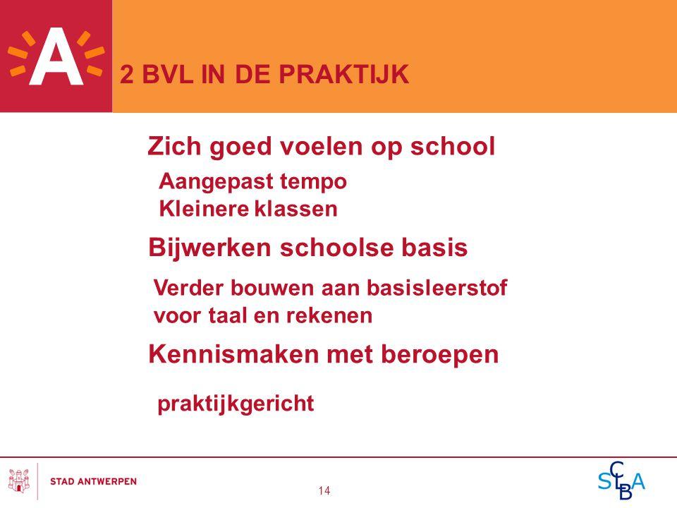 14 2 BVL IN DE PRAKTIJK Kennismaken met beroepen praktijkgericht Zich goed voelen op school Aangepast tempo Kleinere klassen Bijwerken schoolse basis