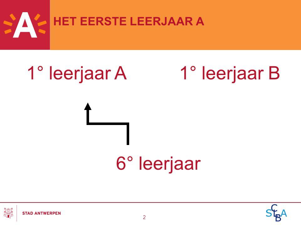 3 HET EERSTE LEERJAAR A 1 A is een vrij algemeen jaar Lesuren: 27 of 28u gemeenschappelijk 4 of 5u keuzevakken