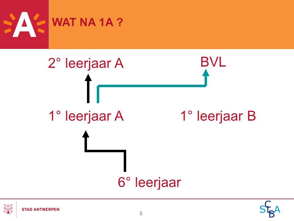 5 1° leerjaar A1° leerjaar B 2° leerjaar A BVL 6° leerjaar WAT NA 1A ?