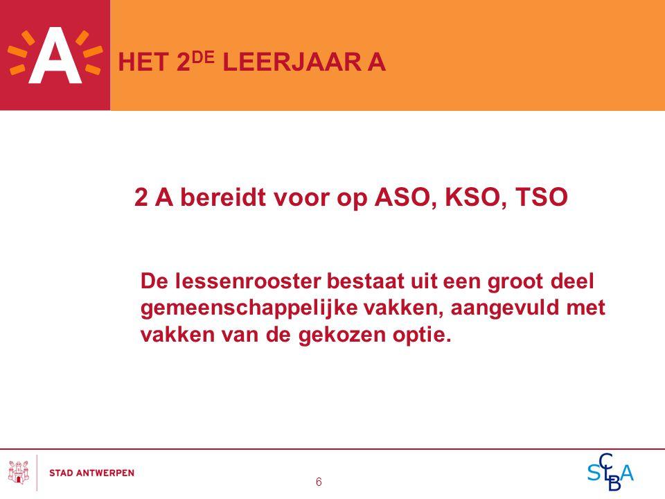 6 HET 2 DE LEERJAAR A De lessenrooster bestaat uit een groot deel gemeenschappelijke vakken, aangevuld met vakken van de gekozen optie. 2 A bereidt vo