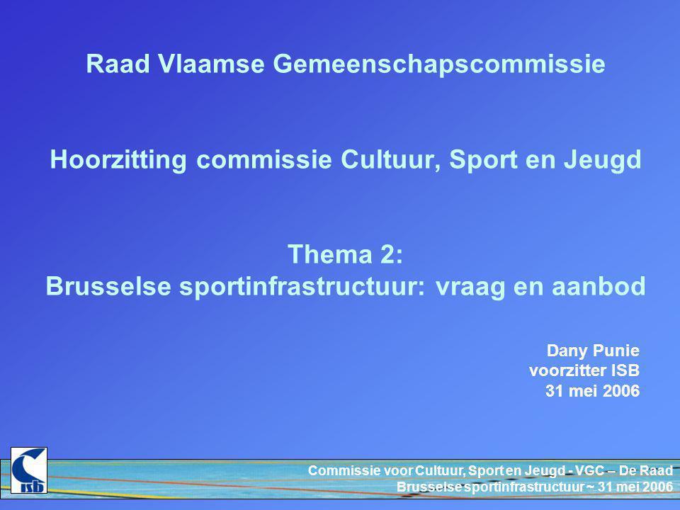 Commissie voor Cultuur, Sport en Jeugd - VGC – De Raad Brusselse sportinfrastructuur ~ 31 mei 2006 Raad Vlaamse Gemeenschapscommissie Hoorzitting commissie Cultuur, Sport en Jeugd Thema 2: Brusselse sportinfrastructuur: vraag en aanbod Dany Punie voorzitter ISB 31 mei 2006