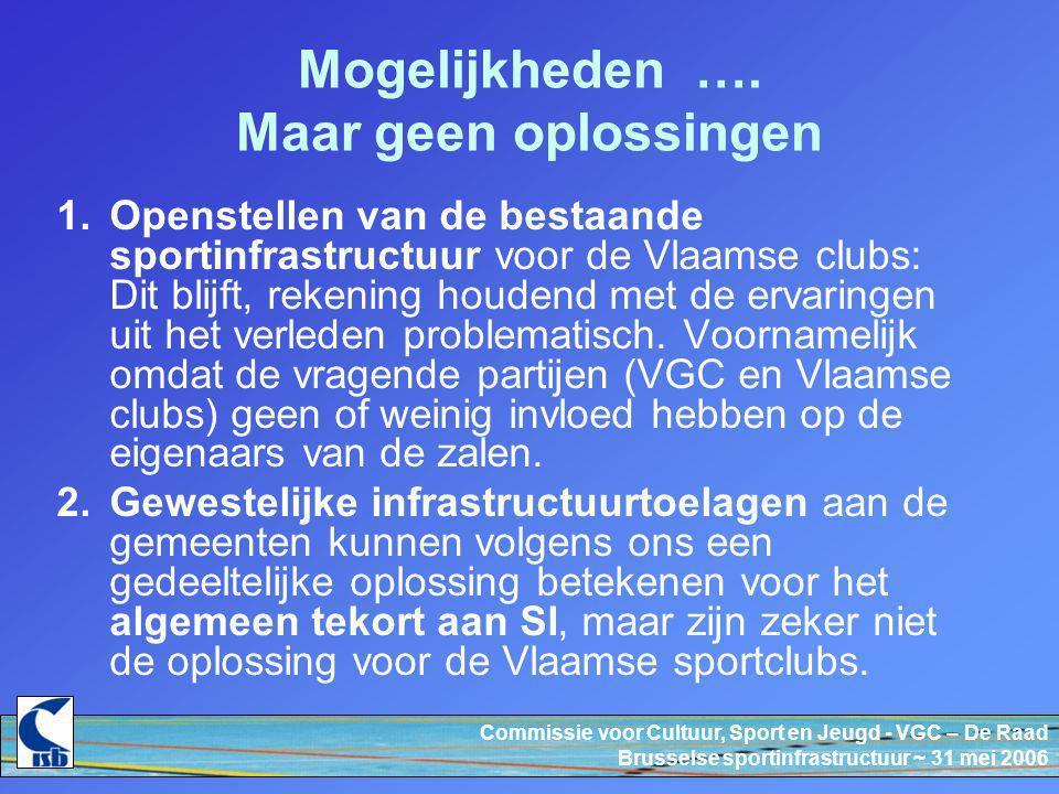 Commissie voor Cultuur, Sport en Jeugd - VGC – De Raad Brusselse sportinfrastructuur ~ 31 mei 2006 Mogelijkheden ….