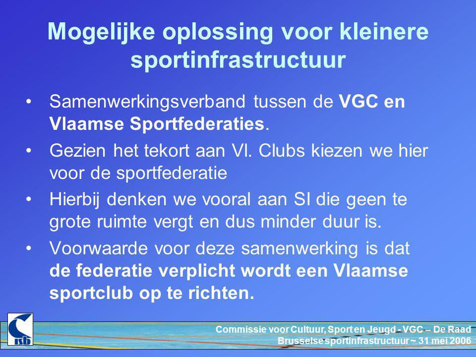 Commissie voor Cultuur, Sport en Jeugd - VGC – De Raad Brusselse sportinfrastructuur ~ 31 mei 2006 Mogelijke oplossing voor kleinere sportinfrastructuur Samenwerkingsverband tussen de VGC en Vlaamse Sportfederaties.