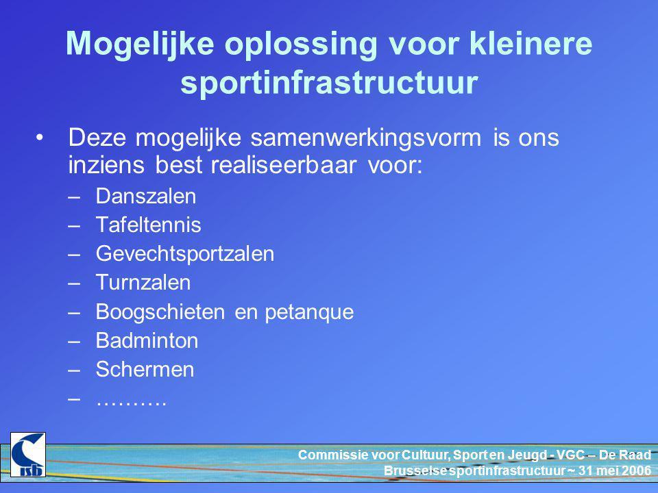 Commissie voor Cultuur, Sport en Jeugd - VGC – De Raad Brusselse sportinfrastructuur ~ 31 mei 2006 Mogelijke oplossing voor kleinere sportinfrastructuur Deze mogelijke samenwerkingsvorm is ons inziens best realiseerbaar voor: –Danszalen –Tafeltennis –Gevechtsportzalen –Turnzalen –Boogschieten en petanque –Badminton –Schermen –……….