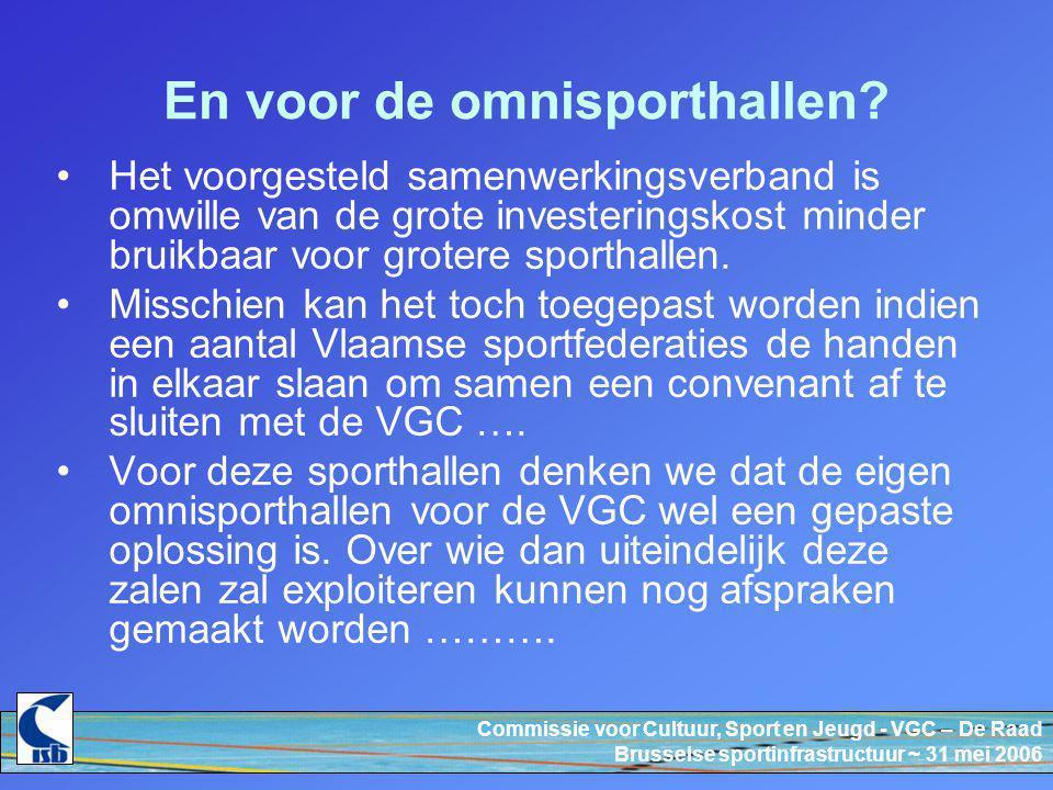 Commissie voor Cultuur, Sport en Jeugd - VGC – De Raad Brusselse sportinfrastructuur ~ 31 mei 2006 En voor de omnisporthallen.