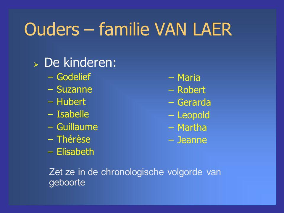 Ouders – familie VAN LAER –Maria –Robert –Gerarda –Leopold –Martha –Jeanne Zet ze in de chronologische volgorde van geboorte  De kinderen: –Godelief