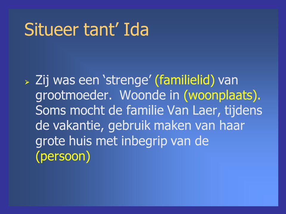 Situeer tant' Ida  Zij was een 'strenge' (familielid) van grootmoeder. Woonde in (woonplaats). Soms mocht de familie Van Laer, tijdens de vakantie, g