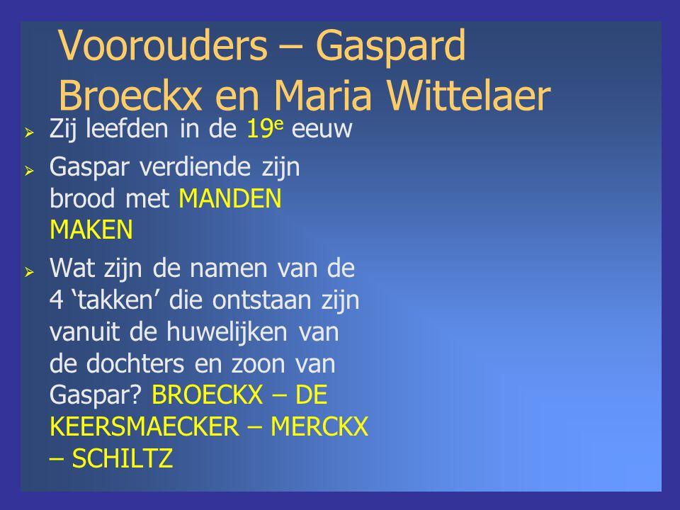 Voorouders – Gaspard Broeckx en Maria Wittelaer  Zij leefden in de 19 e eeuw  Gaspar verdiende zijn brood met MANDEN MAKEN  Wat zijn de namen van de 4 'takken' die ontstaan zijn vanuit de huwelijken van de dochters en zoon van Gaspar.