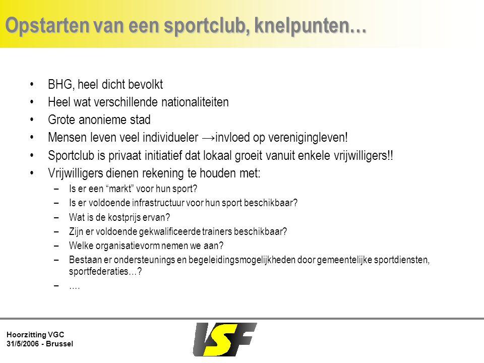 Hoorzitting VGC 31/5/2006 - Brussel Opstarten van een sportclub, knelpunten… BHG, heel dicht bevolkt Heel wat verschillende nationaliteiten Grote anonieme stad Mensen leven veel individueler →invloed op verenigingleven.