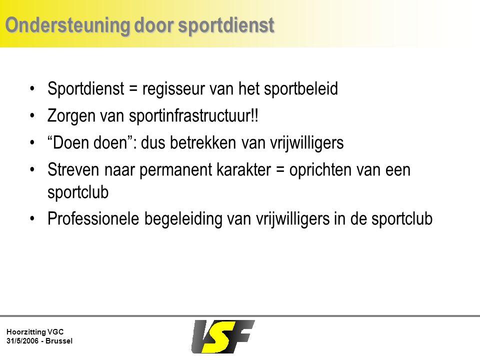 Hoorzitting VGC 31/5/2006 - Brussel Ondersteuning door sportdienst Sportdienst = regisseur van het sportbeleid Zorgen van sportinfrastructuur!.