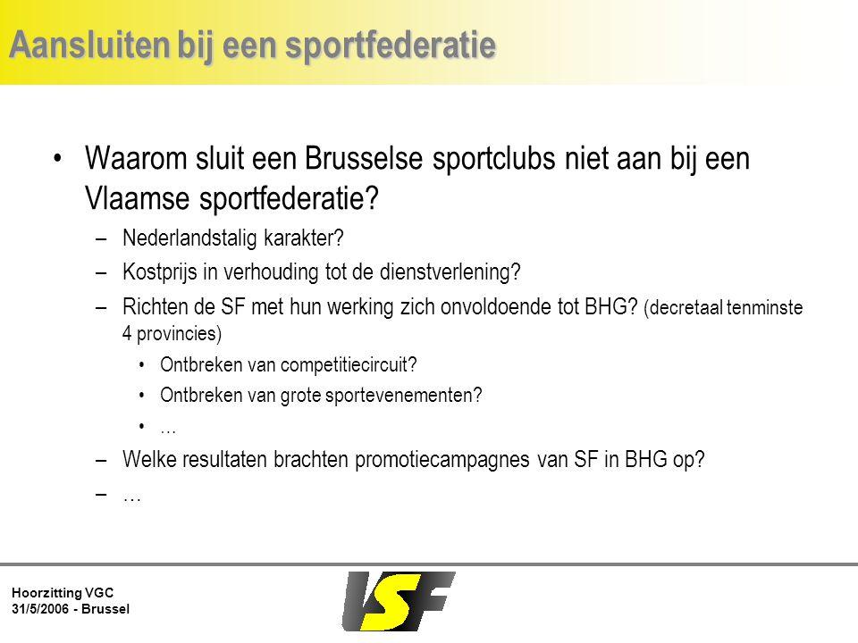 Hoorzitting VGC 31/5/2006 - Brussel Aansluiten bij een sportfederatie Waarom sluit een Brusselse sportclubs niet aan bij een Vlaamse sportfederatie.