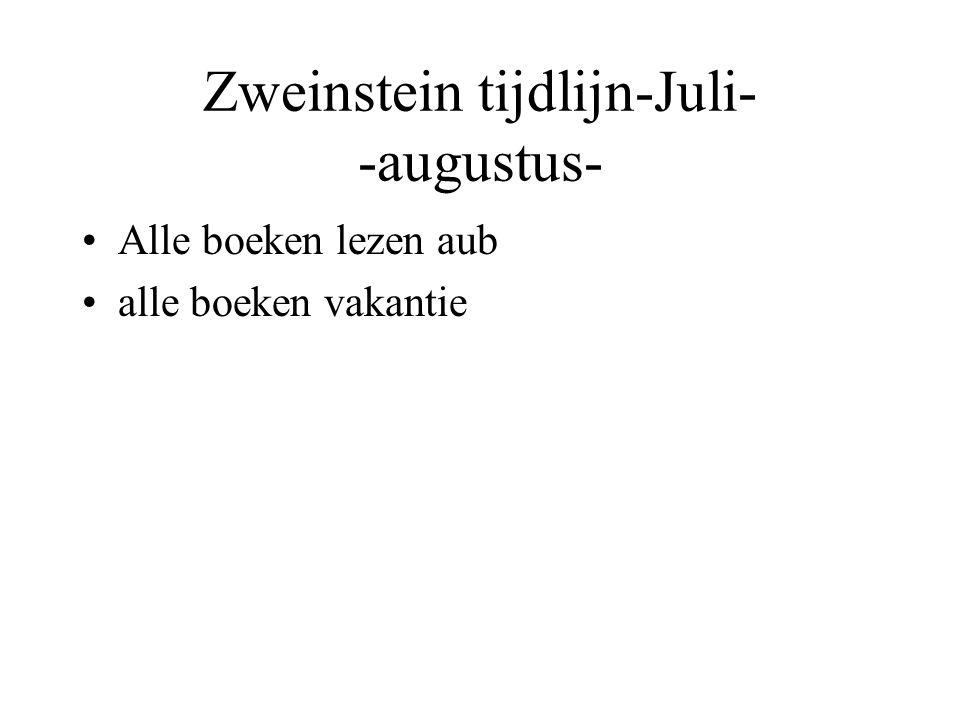 Zweinstein tijdlijn-Juli- -augustus- Alle boeken lezen aub alle boeken vakantie