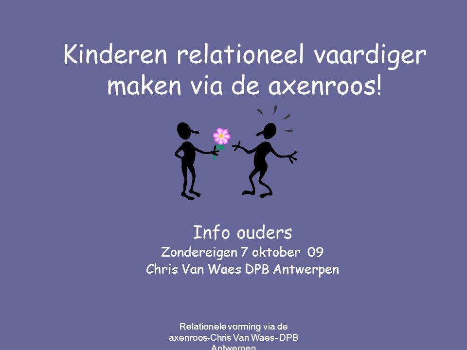 Relationele vorming via de axenroos-Chris Van Waes- DPB Antwerpen Geef kinderen een pluim en … ze krijgen vleugels!
