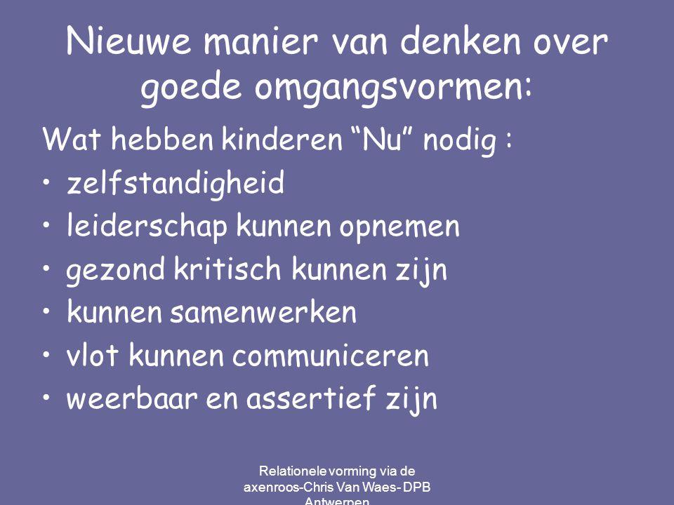 """Relationele vorming via de axenroos-Chris Van Waes- DPB Antwerpen Nieuwe manier van denken over goede omgangsvormen: Wat hebben kinderen """"Nu"""" nodig :"""
