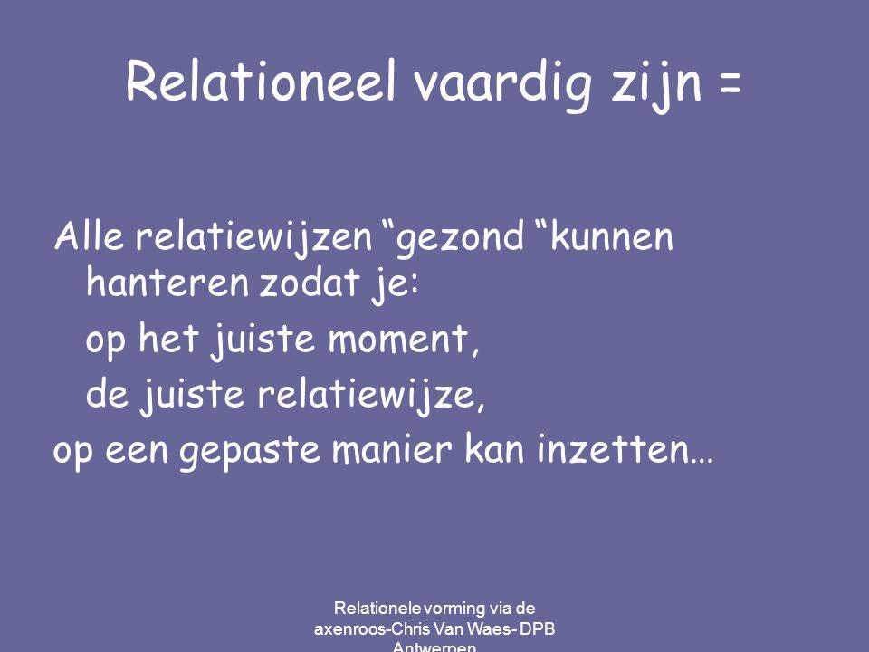"""Relationeel vaardig zijn = Alle relatiewijzen """"gezond """"kunnen hanteren zodat je: op het juiste moment, de juiste relatiewijze, op een gepaste manier k"""