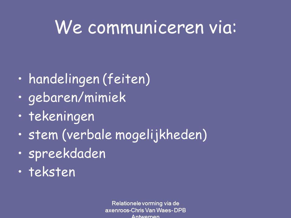 Relationele vorming via de axenroos-Chris Van Waes- DPB Antwerpen We communiceren via: handelingen (feiten) gebaren/mimiek tekeningen stem (verbale mo