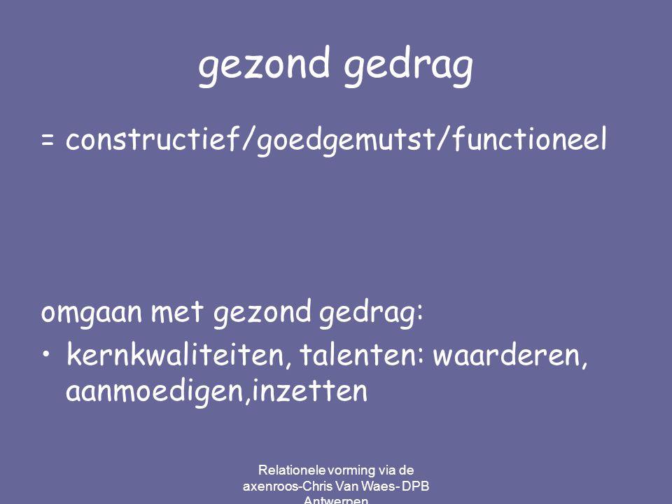 Relationele vorming via de axenroos-Chris Van Waes- DPB Antwerpen gezond gedrag = constructief/goedgemutst/functioneel omgaan met gezond gedrag: kernk