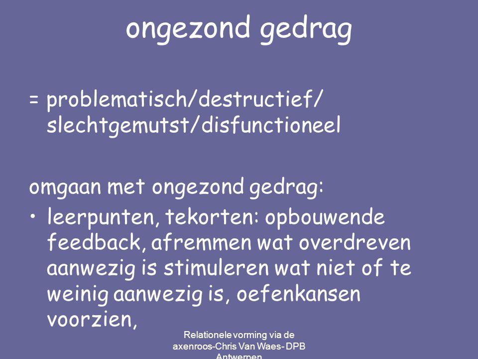 Relationele vorming via de axenroos-Chris Van Waes- DPB Antwerpen ongezond gedrag = problematisch/destructief/ slechtgemutst/disfunctioneel omgaan met