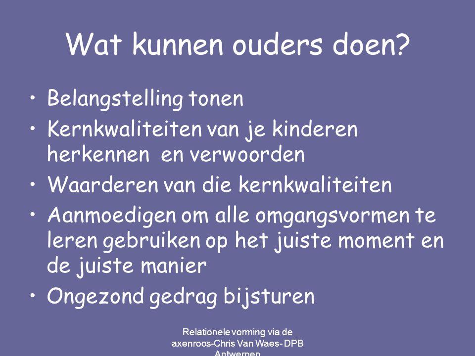 Relationele vorming via de axenroos-Chris Van Waes- DPB Antwerpen Wat kunnen ouders doen? Belangstelling tonen Kernkwaliteiten van je kinderen herkenn