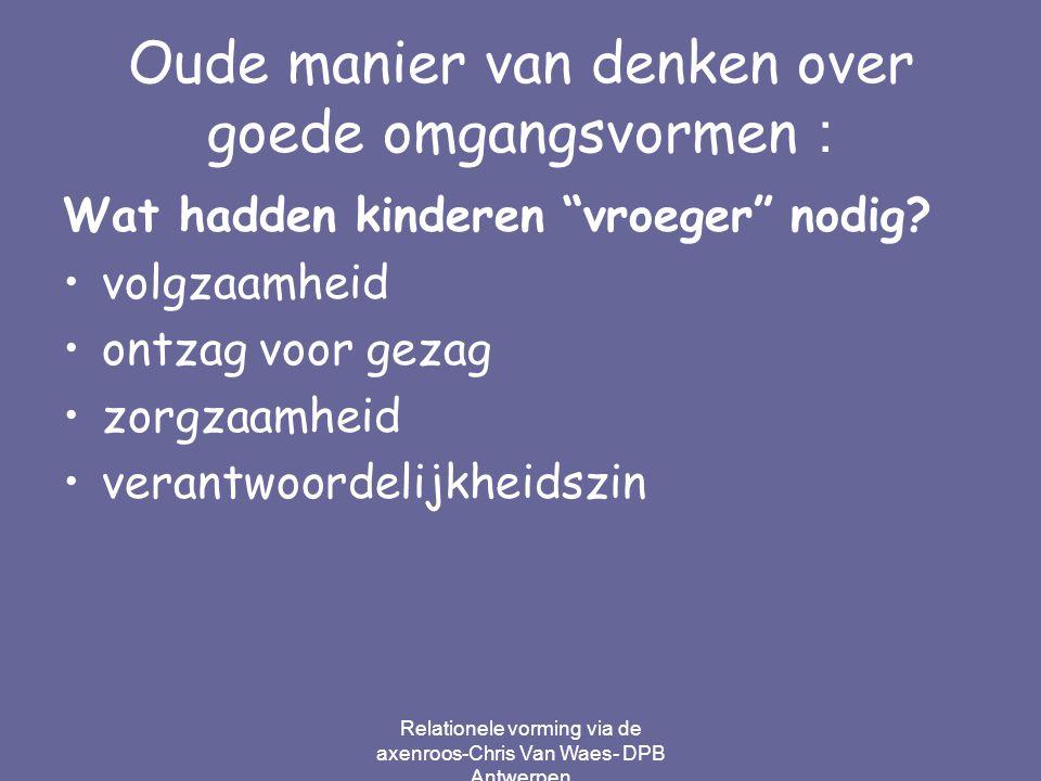 """Relationele vorming via de axenroos-Chris Van Waes- DPB Antwerpen Oude manier van denken over goede omgangsvormen : Wat hadden kinderen """"vroeger"""" nodi"""
