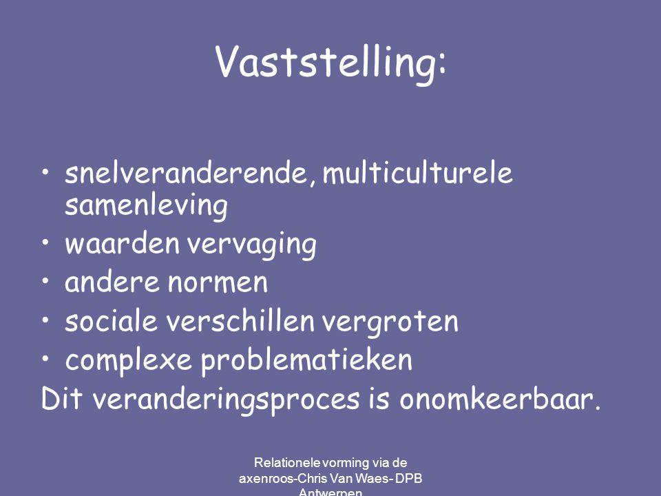 Relationele vorming via de axenroos-Chris Van Waes- DPB Antwerpen Vaststelling: snelveranderende, multiculturele samenleving waarden vervaging andere