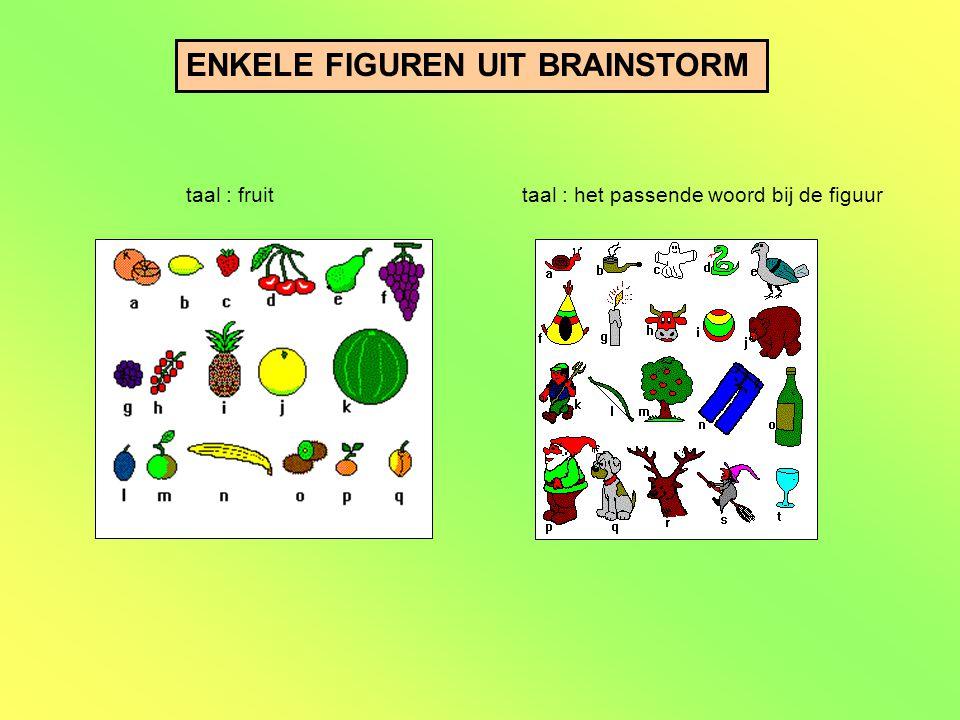 ENKELE FIGUREN UIT BRAINSTORM taal : fruittaal : het passende woord bij de figuur