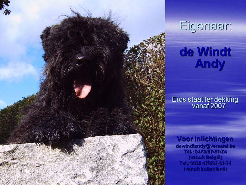 Eigenaar: de Windt Andy Eros staat ter dekking vanaf 2007. Voor inlichtingen dewindtandy@versatel.be Tel.: 0478/57-51-74 (vanuit België) Tel.: 0032 47