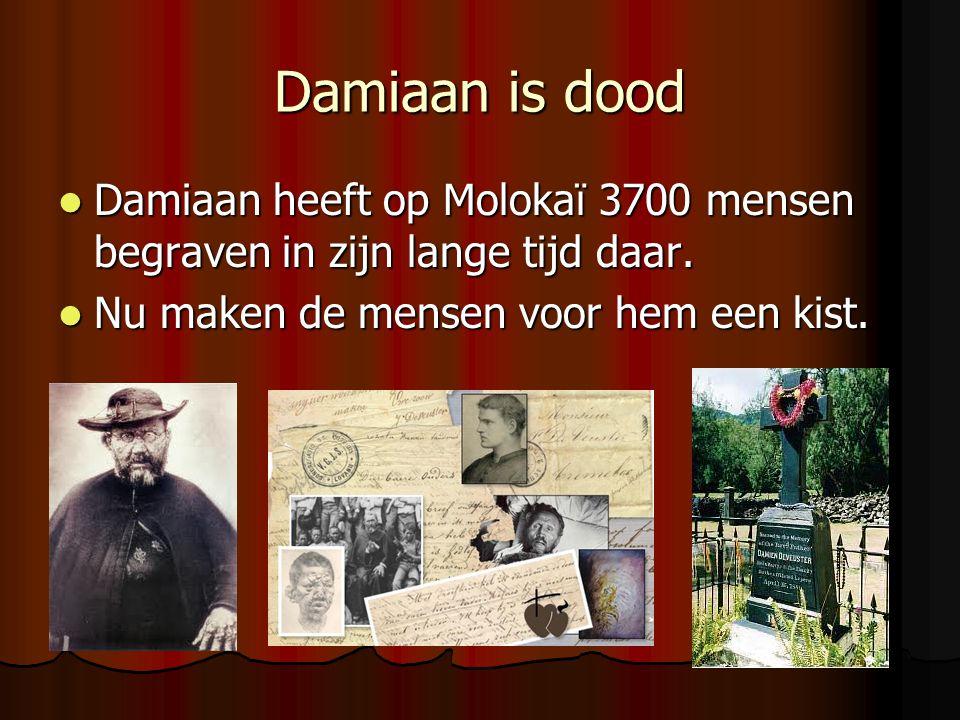 Damiaan is dood Damiaan heeft op Molokaï 3700 mensen begraven in zijn lange tijd daar. Damiaan heeft op Molokaï 3700 mensen begraven in zijn lange tij