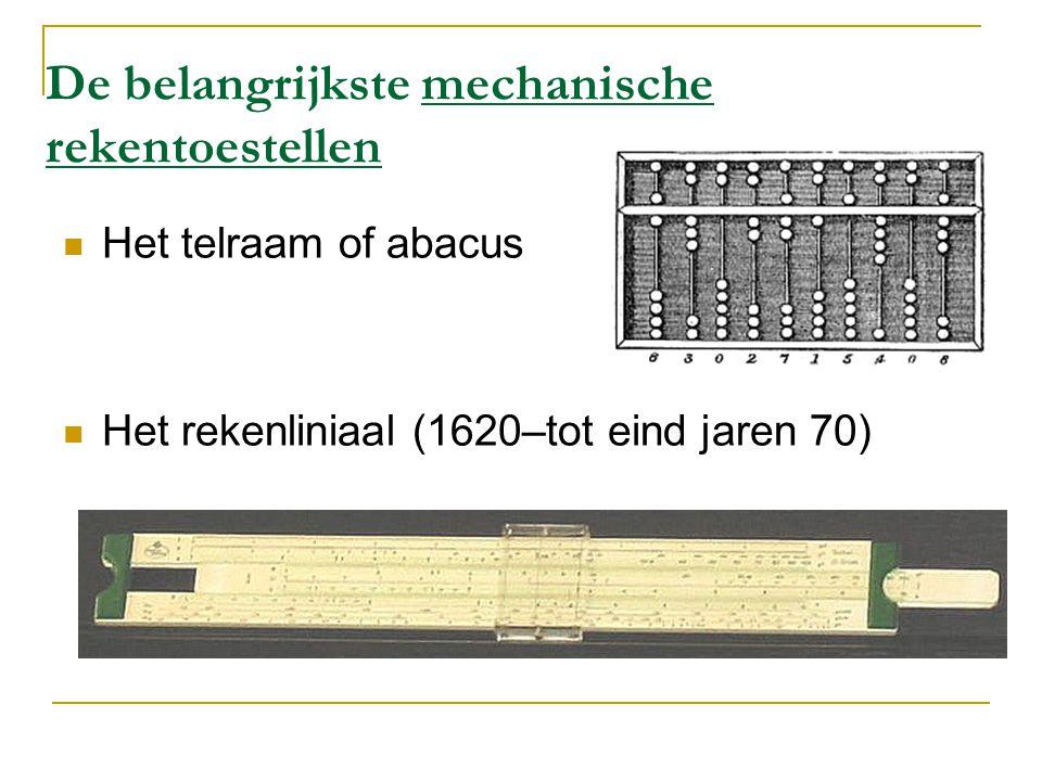 De belangrijkste mechanische rekentoestellen Het telraam of abacus Het rekenliniaal (1620–tot eind jaren 70)