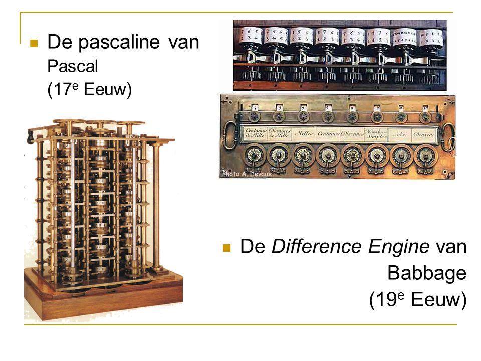 De pascaline van Pascal (17 e Eeuw) De Difference Engine van Babbage (19 e Eeuw)