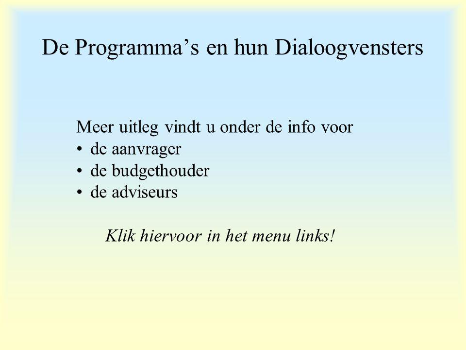 De Programma's en hun Dialoogvensters Meer uitleg vindt u onder de info voor de aanvrager de budgethouder de adviseurs Klik hiervoor in het menu links!