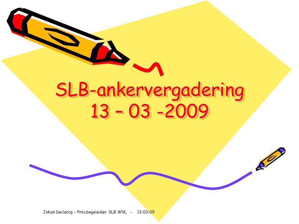 SLB-ankervergadering 13 – 03 -2009 Johan Declercq – Prov.begeleider SLB WVL - 13-03-09