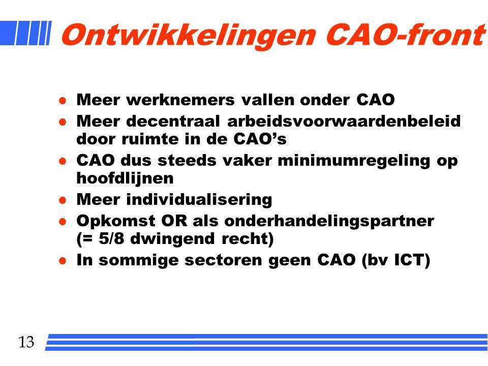 13 Ontwikkelingen CAO-front l Meer werknemers vallen onder CAO l Meer decentraal arbeidsvoorwaardenbeleid door ruimte in de CAO's l CAO dus steeds vaker minimumregeling op hoofdlijnen l Meer individualisering l Opkomst OR als onderhandelingspartner (= 5/8 dwingend recht) l In sommige sectoren geen CAO (bv ICT)