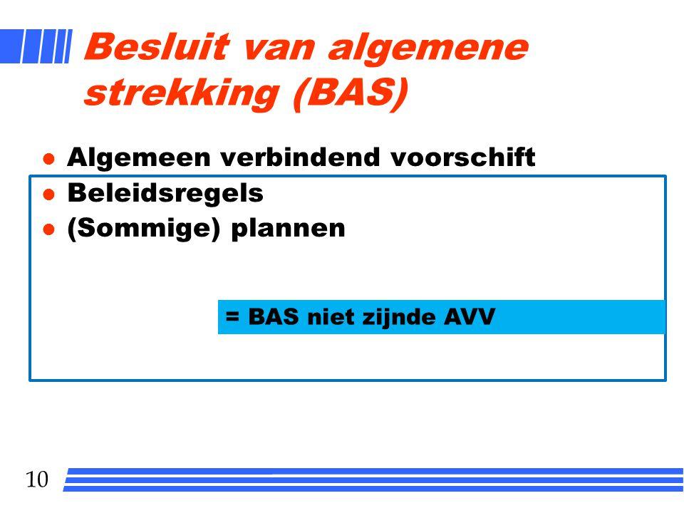 10 Besluit van algemene strekking (BAS) l Algemeen verbindend voorschift l Beleidsregels l (Sommige) plannen = BAS niet zijnde AVV