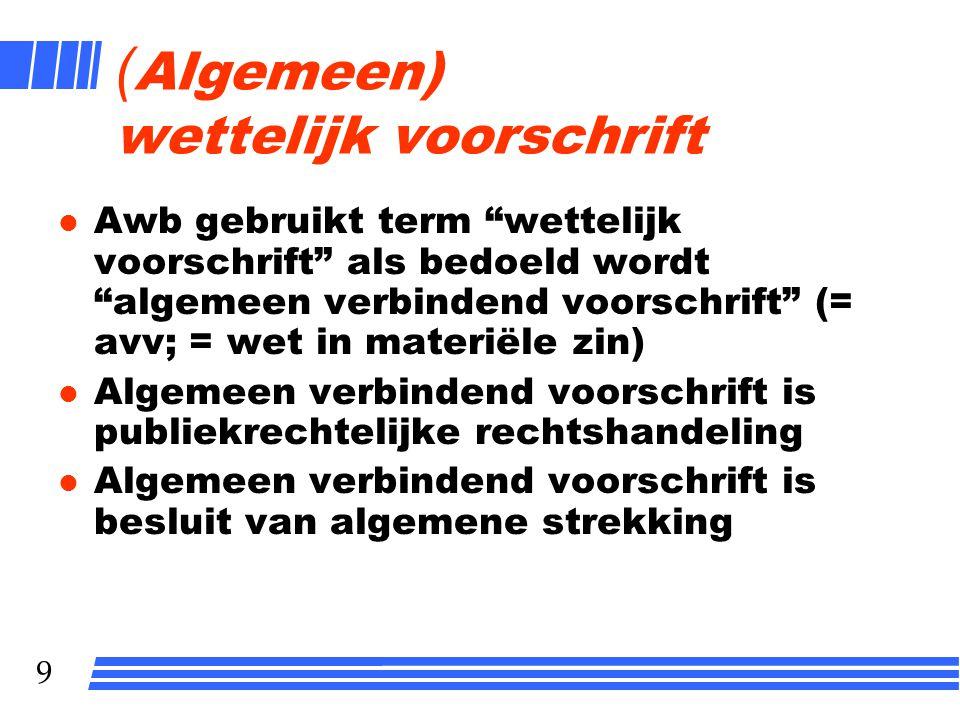 """9 ( Algemeen) wettelijk voorschrift l Awb gebruikt term """"wettelijk voorschrift"""" als bedoeld wordt """"algemeen verbindend voorschrift"""" (= avv; = wet in m"""