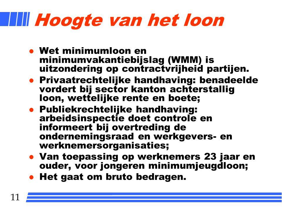 11 Hoogte van het loon l Wet minimumloon en minimumvakantiebijslag (WMM) is uitzondering op contractvrijheid partijen. l Privaatrechtelijke handhaving