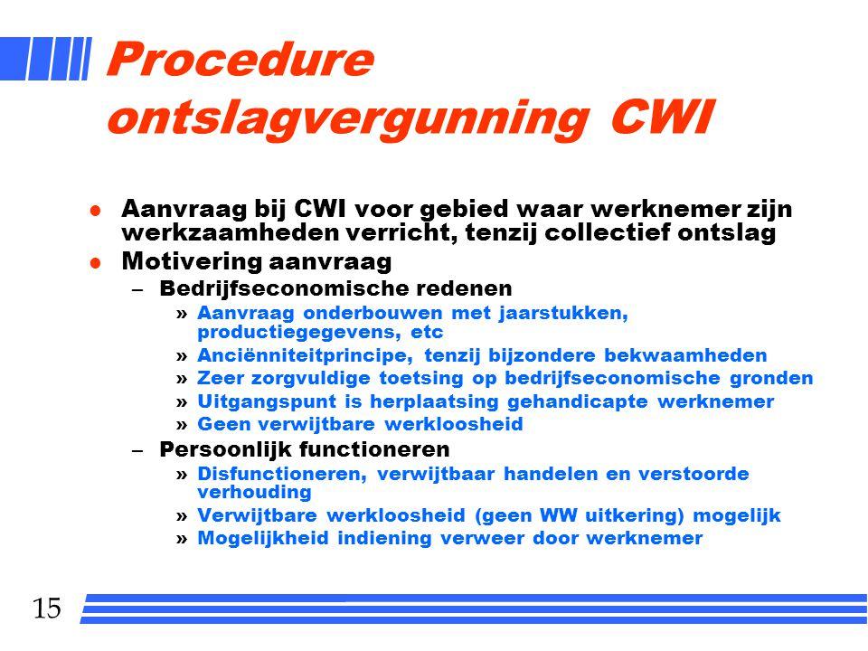 15 Procedure ontslagvergunning CWI l Aanvraag bij CWI voor gebied waar werknemer zijn werkzaamheden verricht, tenzij collectief ontslag l Motivering a