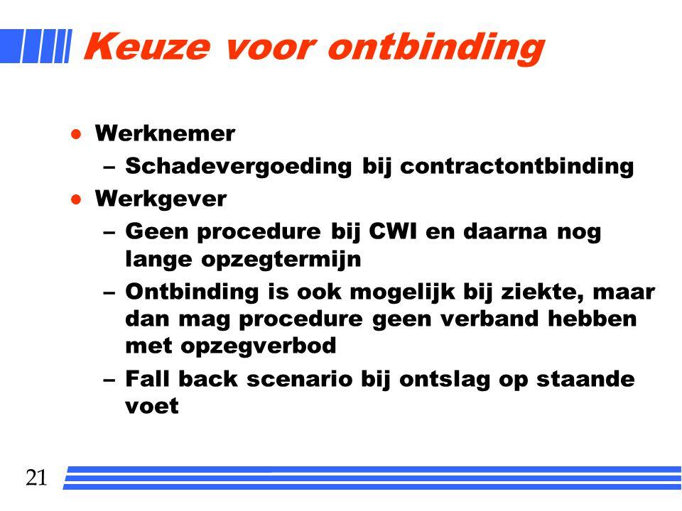 21 Keuze voor ontbinding l Werknemer –Schadevergoeding bij contractontbinding l Werkgever –Geen procedure bij CWI en daarna nog lange opzegtermijn –On