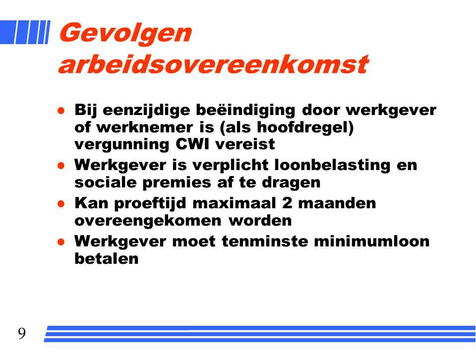 9 Gevolgen arbeidsovereenkomst l Bij eenzijdige beëindiging door werkgever of werknemer is (als hoofdregel) vergunning CWI vereist l Werkgever is verp