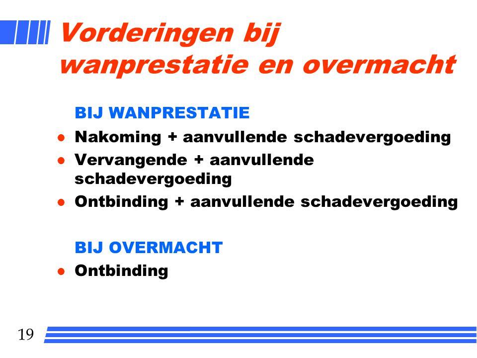 19 Vorderingen bij wanprestatie en overmacht BIJ WANPRESTATIE l Nakoming + aanvullende schadevergoeding l Vervangende + aanvullende schadevergoeding l
