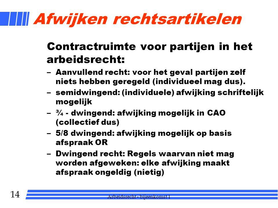 14 Afwijken rechtsartikelen Contractruimte voor partijen in het arbeidsrecht: –Aanvullend recht: voor het geval partijen zelf niets hebben geregeld (individueel mag dus).