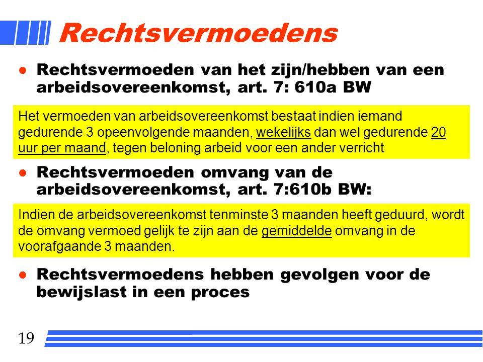 19 Rechtsvermoedens l Rechtsvermoeden van het zijn/hebben van een arbeidsovereenkomst, art.