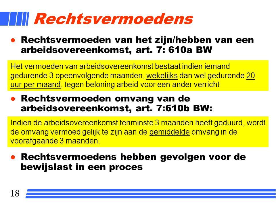 18 Rechtsvermoedens l Rechtsvermoeden van het zijn/hebben van een arbeidsovereenkomst, art. 7: 610a BW l Rechtsvermoeden omvang van de arbeidsovereenk