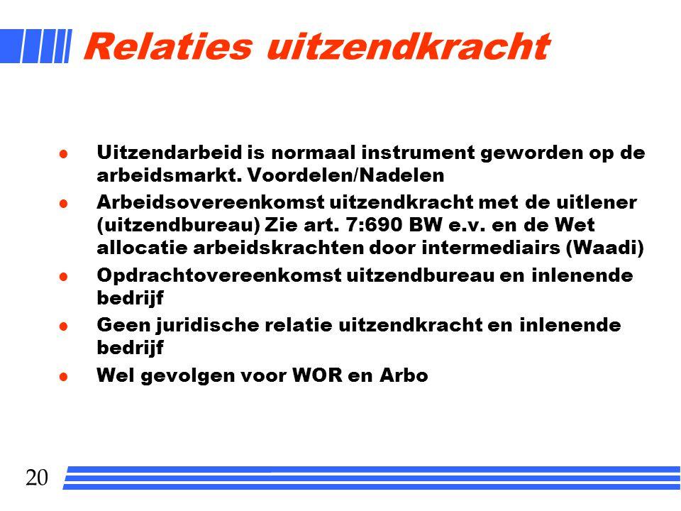 20 Relaties uitzendkracht l Uitzendarbeid is normaal instrument geworden op de arbeidsmarkt. Voordelen/Nadelen l Arbeidsovereenkomst uitzendkracht met